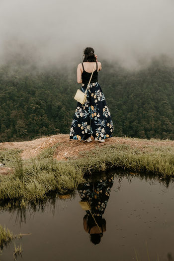 Reflection Adult Beautiful Woman Clothing Day Full Length Lake Land Leisure Activity Nature One Person Outdoors Plant Real People Reflection Standing Tree Water Women Young Adult