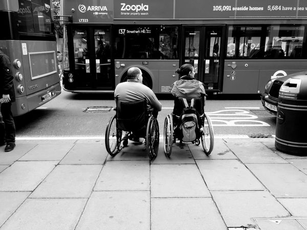Live To Learn a Couple in Wheelchairs wait for a Bus on Oxford Street  Mobility Iphone 6 London Life