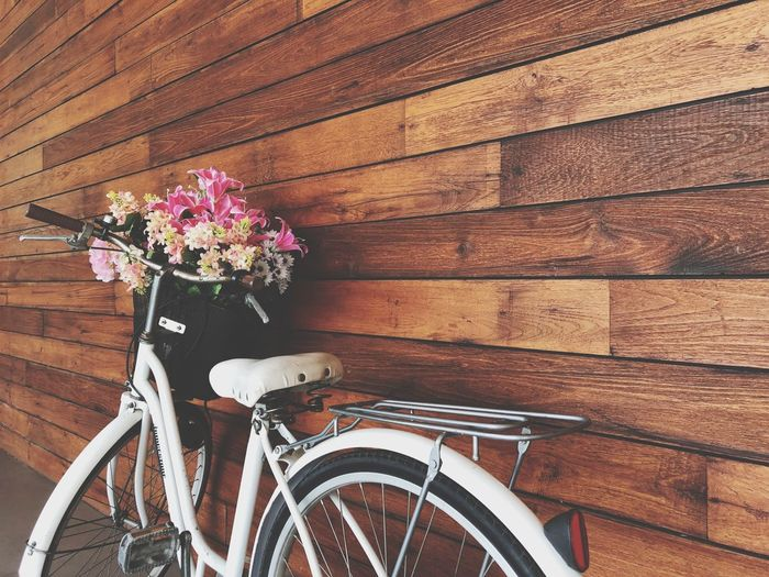 Close-up of bicycle leaning on wooden wall