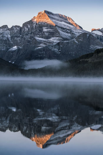 Scenic Reflection Of Rocky Mountains In Lake