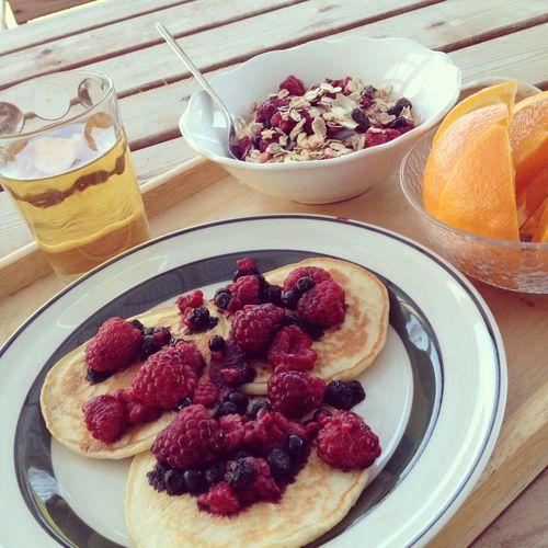 Breakfast Pankakes Berries Sweden