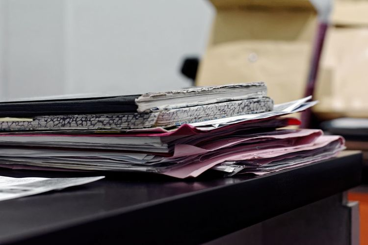 Business Close-up Day Indoors  Large Group Of Objects No People Paper Stack Table Wallet