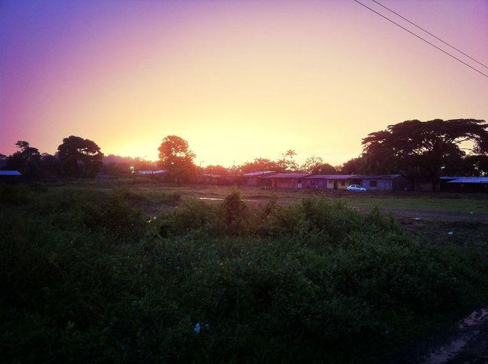 Una puesta de sol con coloración naranja