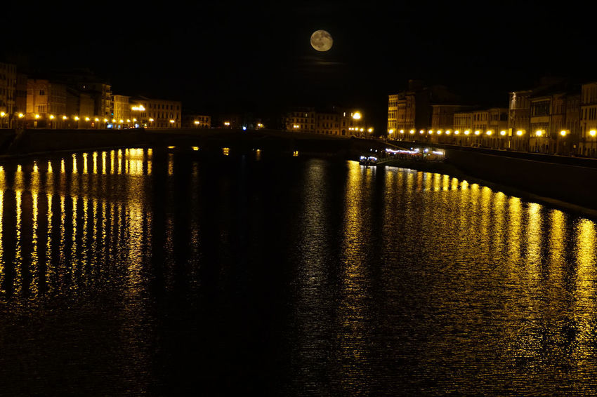 Architecture Arno  Building Exterior Built Structure City Illuminated Lungarno Moon Moon Surface Moonlight Nature Night Night Lights Night Photography Nightphotography No People Outdoors Pisa Pisa, Italy Reflection Sky Transportation Water
