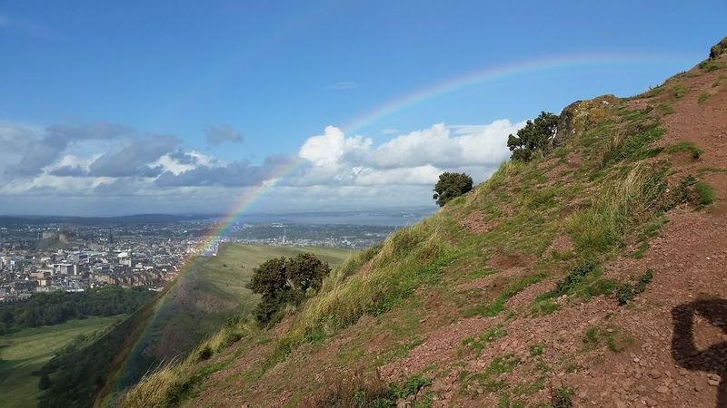 Edinburgh Scotland Arthurs Seat Beauty In Nature Cloud - Sky Day Mountain Nature No People Outdoors Rainbow Scenics Shadow Sky Uk