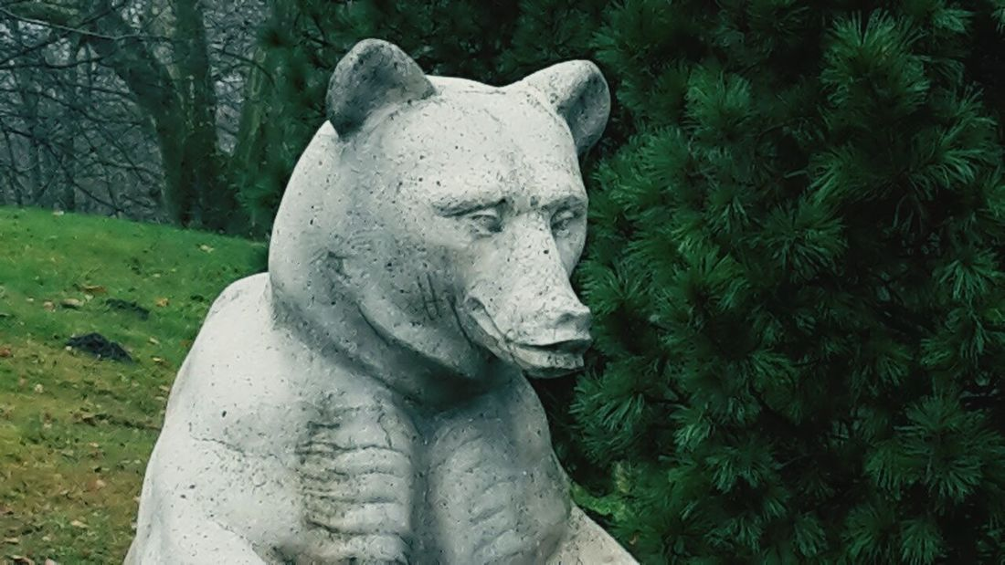 Electricity bear is ready for the winter Germany Outdoors Day Sculpture Rastatt Park Green Autumn