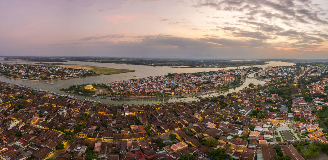 Vietnam Hoi An Hoi An By Night Nightphotography Night Photography Ancient Town Old Town High Angle View Top View Nightlife River Yellow House  Boat Hoian  Panorama Panoramic Landscape Panoramic Photography Scenics Landmark Landscape TOWNSCAPE Town Aerial View Aerial Photography Sunset_collection Night