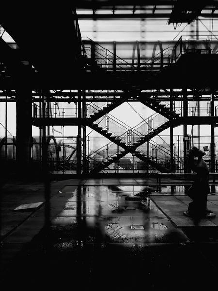 Reflection Travel Architecture No People Museum Pompidou Pompidou Center Arts Culture And Entertainment Blackandwhite City Paris, France  Stairs Geometry Stairs Lines And Angles Lines Noir&blanc Puddle Nikki De Saint Phalle