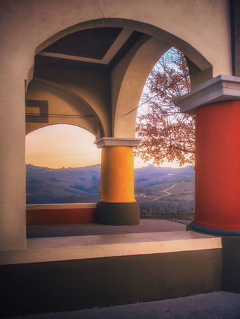 Architecture Arch Built Structure No People Nature Indoors  Day Architectural Column Tree Sunlight Sky Building Plant Orange Color Window Sunset The Way Forward Entrance Church Architecture Colors Langhe Piedmont Italy EyeEmNewHere EyeEm Nature Lover