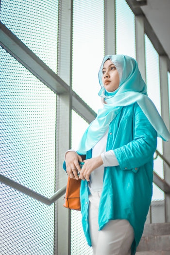 Template Temple Human Hand Child Standing Portrait Smiling Childhood Hijab Hood - Clothing Sweatshirt Advent Maternity Wear Holy Week Wearing Islam Origins Turquoise Colored Hooded Shirt Headscarf Religious Dress Surgical Cap Operating Room Surgical Mask Surgeon Operating Gown