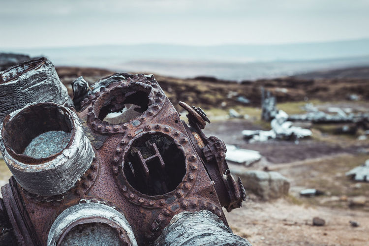 Rusting B-29 engine on Bleaklow. Metal Land Rusty Focus On Foreground Decline Day Close-up Damaged Deterioration Abandoned Outdoors Ruined Old History Crash Site Engine Plane Airplane Airplane Engine Rotary Engine Wreck Peak District  B-29 No People Dirt