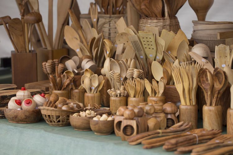 Wooden kitchen utensils Asturias Cooking Horizontal SPAIN Sunny Cutlery Day Kitchen Utensil Large Group Of Objects Market No People Object Outdoors Selective Focus Shop Still Life Summer Traditional Wood - Material Wooden Spoon