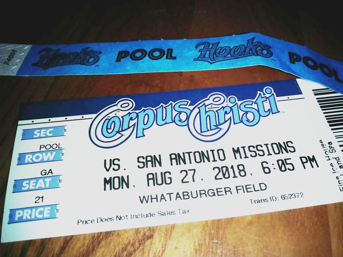 Hooks Baseball Game Tickets Pool Party Baseball Game Communication Text Close-up Capital Letter Alphabet Letter E Information