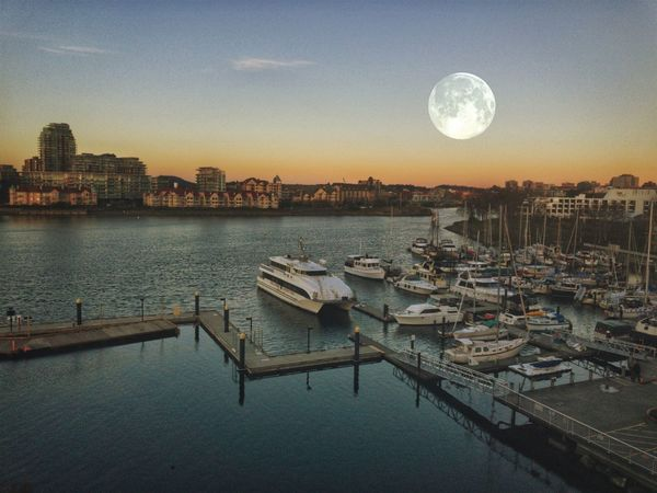 Moonlight over Victoria Moon Water Nautical Vessel Sky Built Structure Transportation Mode Of Transport No People Moored Sunset Outdoors Clear Sky Harbor Scenics Beauty In Nature