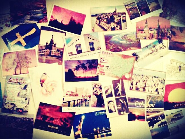 piece of my postcard wall with postcards from all over the world! Postcardsfromtheworld Postcards