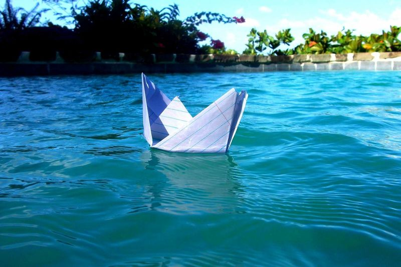 Artsy Boat Creativity Day Escapism Floating On Water Lake Mode Of Transport Nautical Vessel Origami Outdoors Paper Boat Paper View Reflection Rippled River Sailing Swimming Transportation Tropical Climate Vacation Vacations Water Landscapes With WhiteWall Macro Beauty