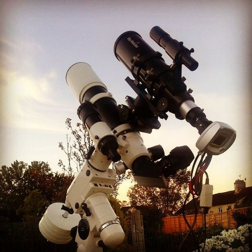 Waiting for the sun to set Skywatcher Nightsky Astrophotography Astronomy Chippenham Wiltshire Telescope Space Science Synguider Guidescope