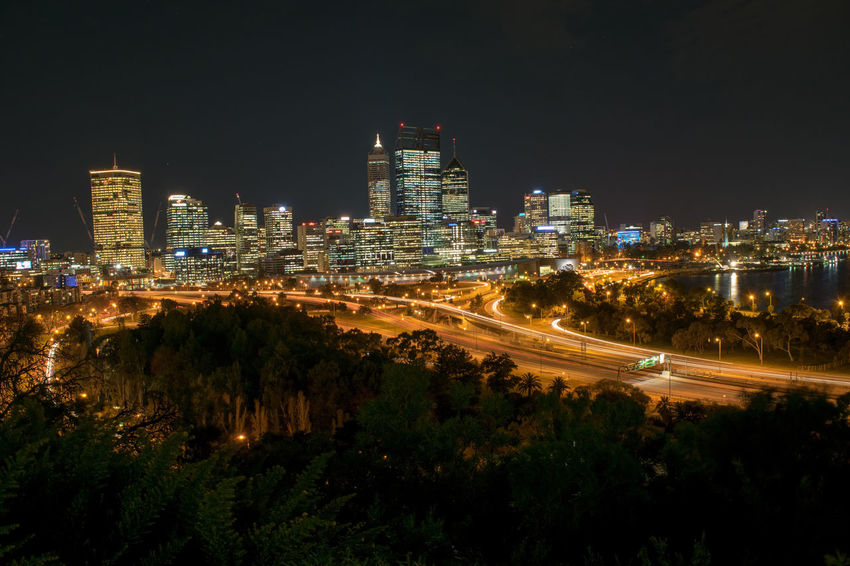 Kings Park Perth Skyline Light Trails Cityscape Perth City Lights Cities At Night
