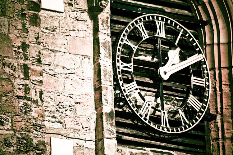 Church Circle Clock Design Historic History Low Angle View Metal No People Old Ornate Religion Roman Numerals Ten Past One Textured  Time