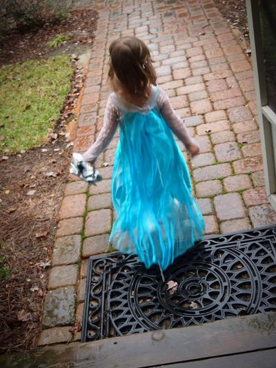 Childhood Contemplative Child Playing Pretend Imagination Elsa Frozen Playing In The Rain Curiousity Running Beautiful Beautiful Child Aqua Rain Rainy Day Dress Dress Blowing Wind In My Hair Discovery Little Girl Dress Up Playing Dress Up Carefree Bliss Blissfully Dreaming