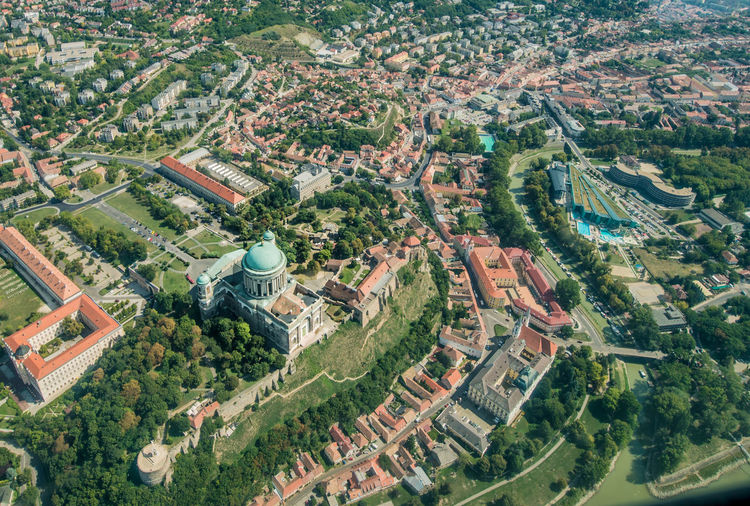 Danube Esztergom Esztergomi Bazilika Aerial View Agriculture Aircraft Airplane Architecture Beauty In Nature City Cityscape Danube River High Angle View Nature No People Town Tree Water