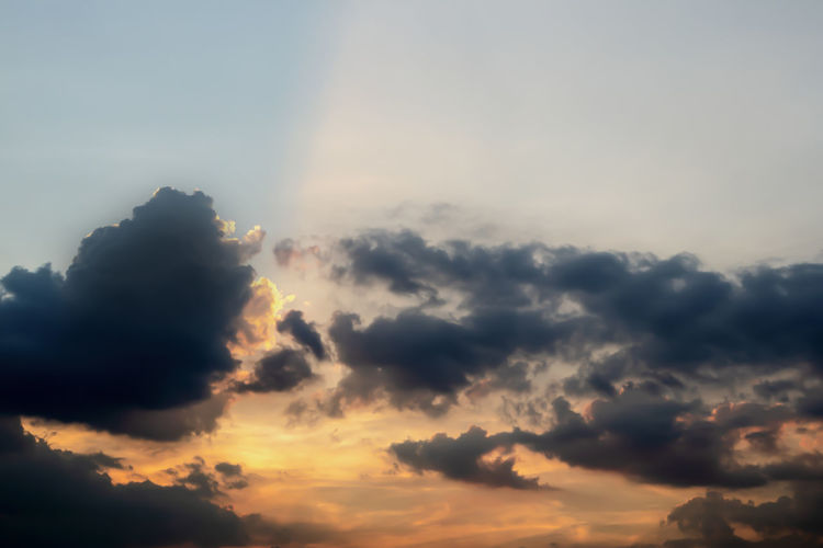 Sky Cloud - Sky Beauty In Nature Scenics - Nature Tranquility Tranquil Scene Sunset Nature No People Low Angle View Idyllic Cloudscape Sunlight Outdoors Dramatic Sky Orange Color Sunbeam Majestic Backgrounds Bright Meteorology