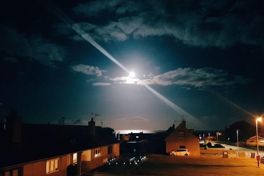 Moonlight Cruden Bay Aberdeenshire Scotland United Kingdom Night Sky Sky