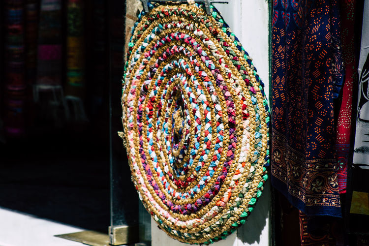 Close-up of textiles for sale at market