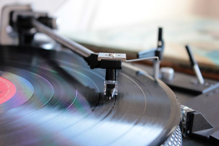 Close-up of record on turntable