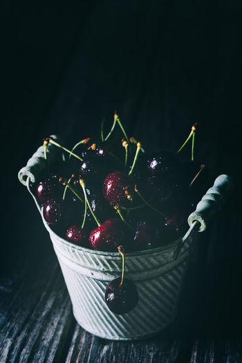 cherries in an old metal | daylight foodphotography Cherries Jork Metal Pot Nikon Red Black Background Cherry Close-up Daylight Photography Focus On Foreground Food Food And Drink Food Photography Foodphotography Freshness Fruit Healthy Eating Indoors  Moody No People Still Life Vegetable