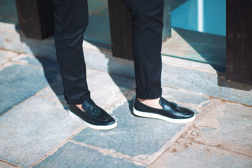 Low Section Human Leg Body Part Human Body Part Men Shoe Real People Standing Day People Lifestyles Togetherness Adult Women Footpath Outdoors Human Foot Leather Shoes Shoe Shoes Black Shoes Black Pants Pants Love Positive Emotion