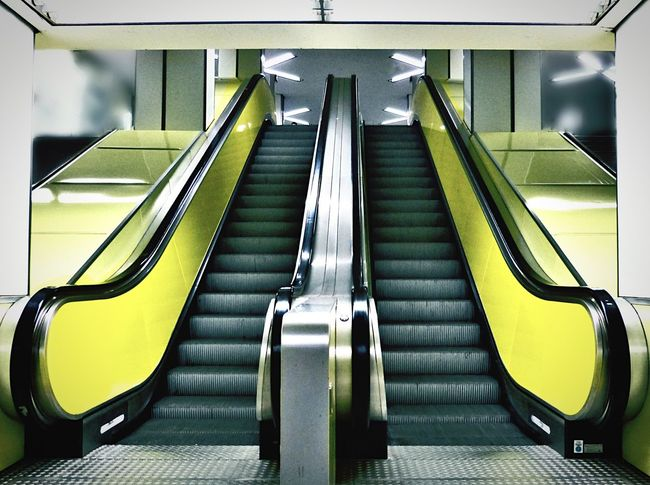 Escalator Railing Technology Convenience Steps Modern Steps And Staircases Indoors  Absence Transportation Close-up Motion Connection High Angle View The Way Forward On The Move Yellow Low Angle View Staircase Futuristic Hochbahn Tube Underground Station  70ties Colours