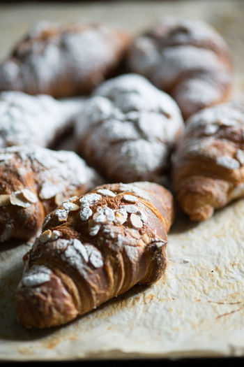 Detail shot of fresh croissants
