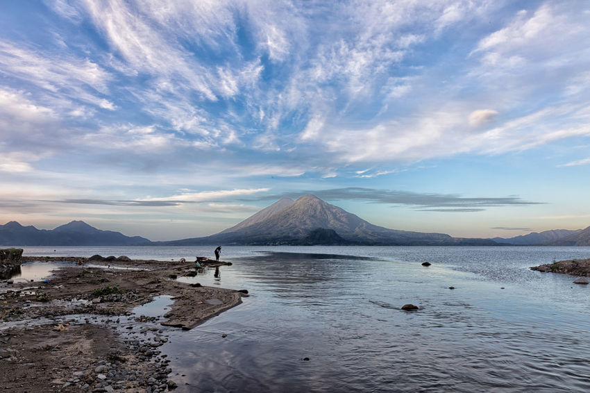 Lake Atitlan at sunrise Guatemala Landscape_Collection Sunrise_Collection Beauty In Nature Cloud - Sky Day Lake Landscape Mountain Nature Outdoors Scenics Sea Sky Sunrise Tranquil Scene Tranquility Water
