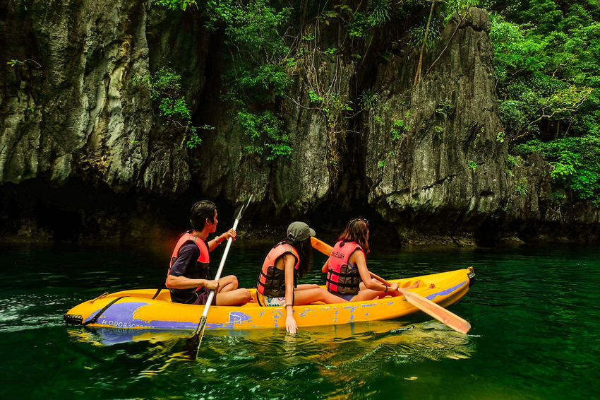 ASIA Philippines Adventure Beauty In Nature Inflatable Raft Kayak Lagoon Leisure Activity Nature Nautical Vessel Outdoors Rafting Rowing Travel Destinations Vacations Water