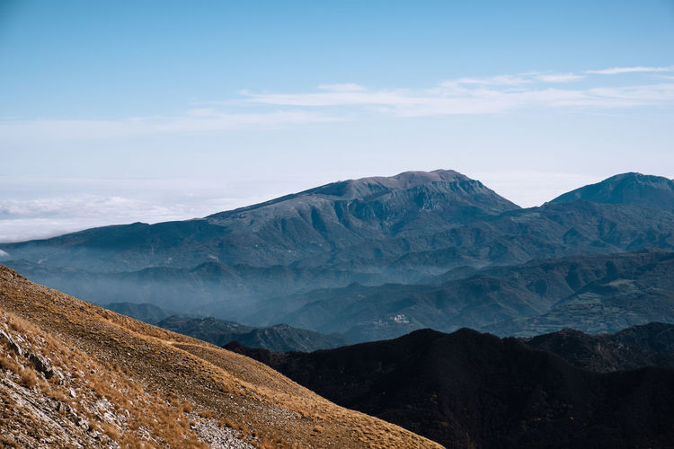 Scenic view of dramatic landscape against sky in arquata del tronto, marche italy