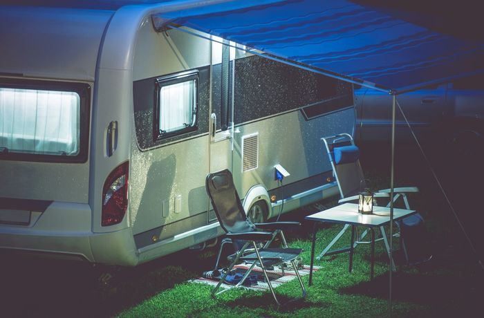 Travel Trailer Camping. Vacation Travels Camping Abandoned Camper Chair Day Nature No People Outdoors Rv Seat Sky Summer Travel Trailer Vacation Window