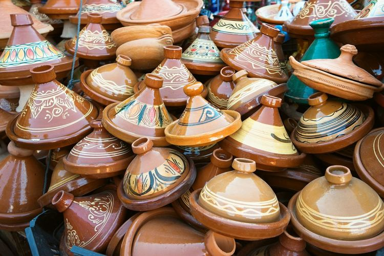 Morocco Crafts Tagines Crafts Art And Craft Choice Clay Close-up Day Earthenware For Sale Large Group Of Objects Market No People Outdoors Retail  Tagines Variation