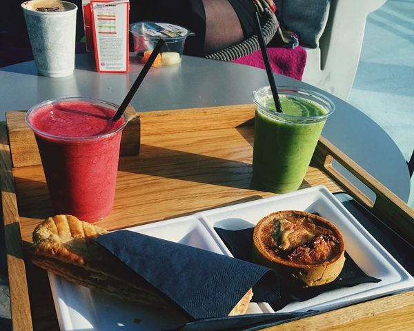 Skygarden London Food Skypod Sausageroll Quiche Smoothies