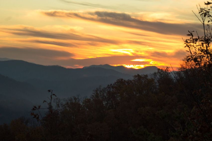 Smoky Mountains Sunset Sunset Mountain Nature Scenics Beauty In Nature Tree Tranquil Scene Tranquility Silhouette Sky No People Mountain Range Outdoors Landscape Day Smoky Mountains Tennessee Be. Ready.