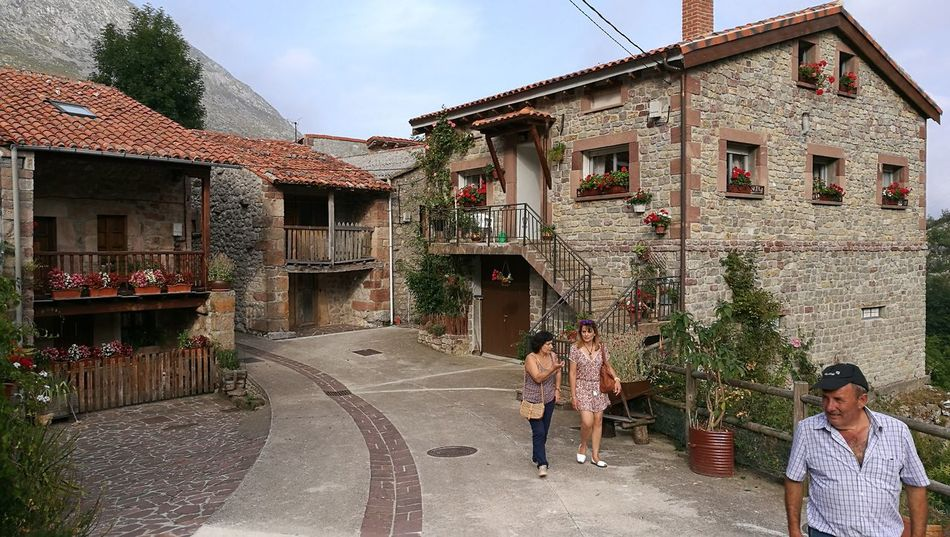 Architecture House Building Exterior Residential Structure Street Village Asturias Cantabria Stone Material