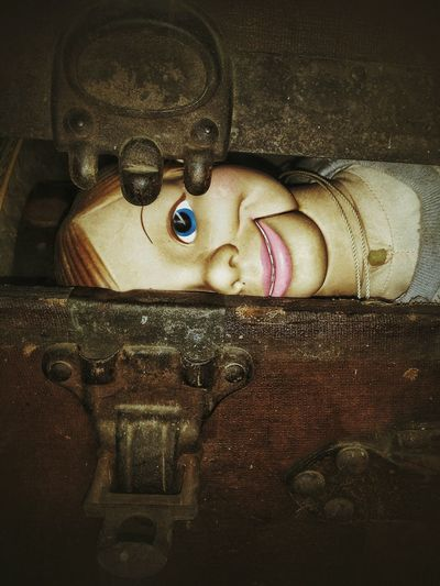 dummy in a trunk Trunk Open Dummy Vintage Doll Creepy Peekaboo Inside Hide Smile Close-up Puppet Aged