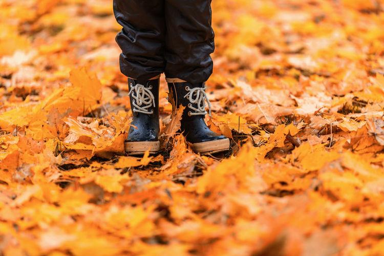 Welcome Autumn! Child Autumn colors Autumn Leaves Rubber Boots Autumn Mood Leaf Autumn Human Leg Shoe Boot Rubber Boot Human Feet