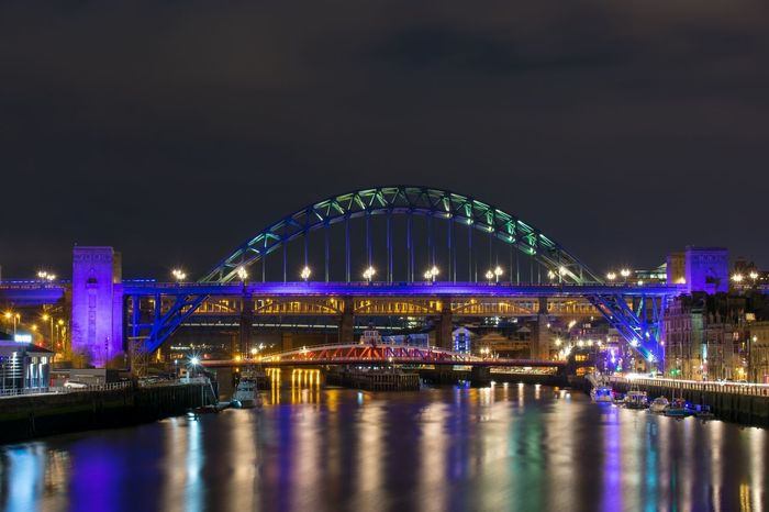 Tyne bridge lit up purple Newcastlequayside Newcastle Newcastleupontyne NE1 Rivertyne Quayside Tynebridge  Gateshead NORTHEASTENGLAND Bridges Bridge Swingbridge Tynebridges River Photooftheday Newcastlephotographer Newcastlegateshead Northeast Skyscraper Business Finance And Industry Downtown District Waterfront Calm Arch Bridge Riverbank Stories From The City