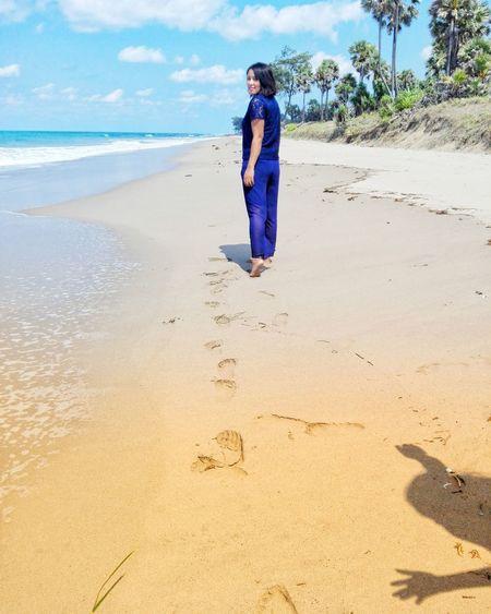 Full Length Sea Beach Standing Sand Blue Smiling Portrait Women Happiness