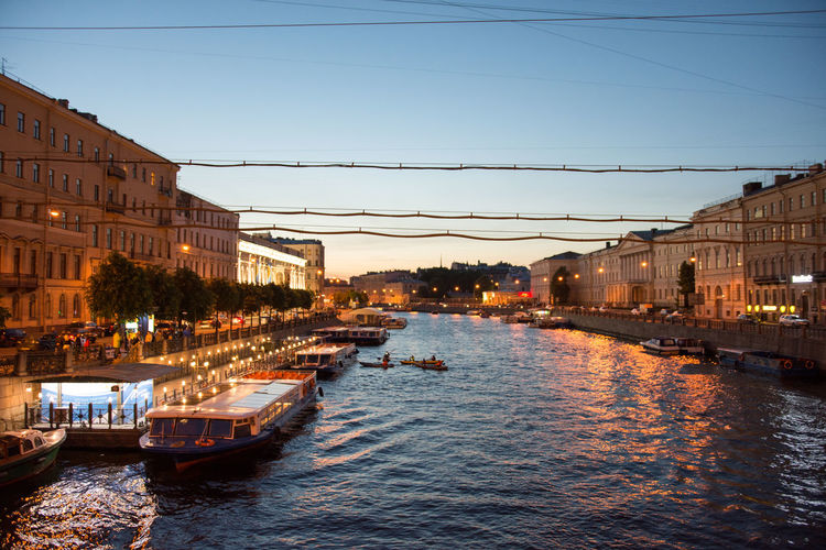 Architecture Blue Boat Built Structure Cable Canal City City Life Day 43 Golden Moments Mode Of Transport Nature Night Outdoors Residential Building Residential Structure Russia St. Petersburg Town Travel Destinations Water White Nights