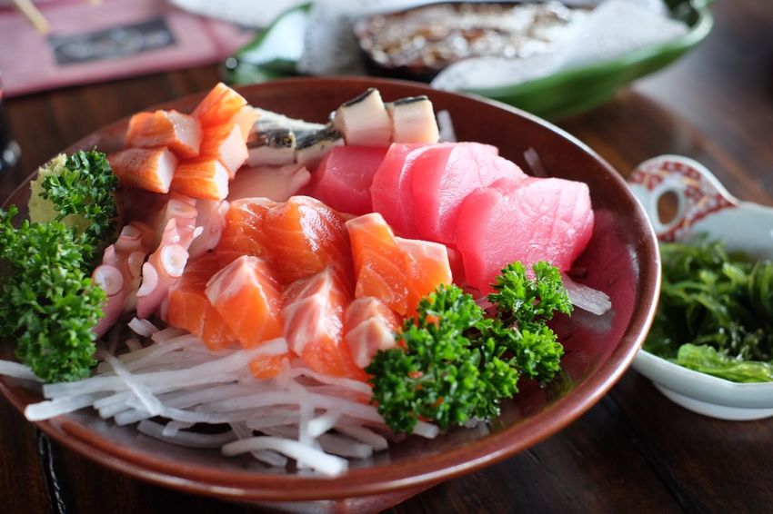 Food Food And Drink Healthy Eating Freshness Seafood Wellbeing Table Raw Food Indoors  Salmon - Seafood Ready-to-eat No People Japanese Food Plate Close-up Asian Food Caviar Sashimi  Serving Size Still Life