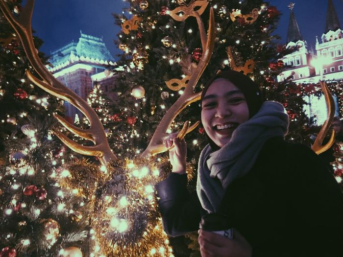 Reindeer smiles Student Life Positive Vibes Friend Hope Happiness Fightdepression Oldsoulyoungblood New Year Moscow Stressfree Lights Christmas Lights Christmas Tree Illuminated Celebration Smiling Happiness christmas tree Holiday Night