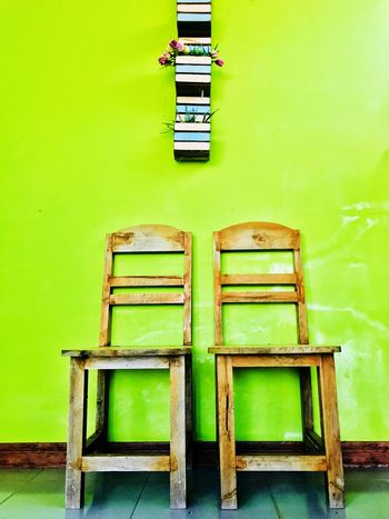 Chairs, old chairs is so vintage. No People Green Color Built Structure Architecture Day Seat Building Exterior Indoors  Close-up Chair Wood Chairs Seats Chair Design Chair Art