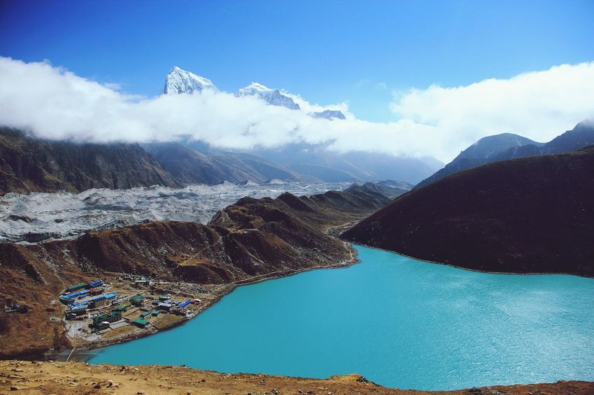 Gokyo Lakes by day Nepal Gokyo Lake Gokyo Trek Water Mountain Aerial View Scenics Outdoors Day Nature No People Beauty In Nature Sky